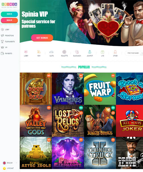 Spinia Casino Review 2021