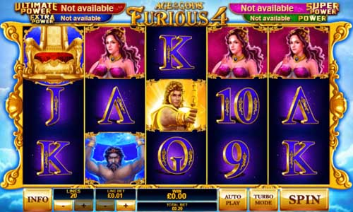 Age of the Gods Furious 4sticky wilds slot