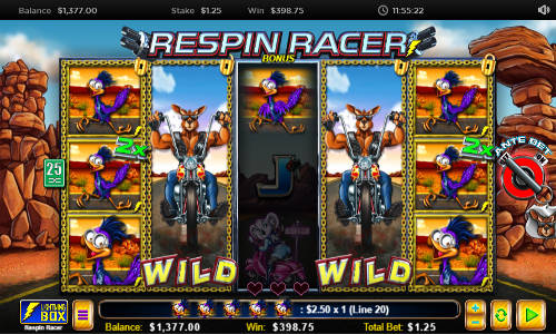 Respin Racersticky wilds slot